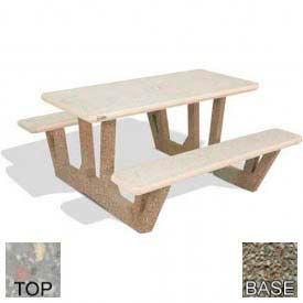 "38"" Rectangular Picnic Table, Polished Gray Limestone Top, Gray Limestone Leg"