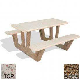 "38"" Rectangular Picnic Table, Polished White Top, Tan River Rock Leg"