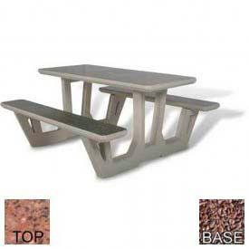 "58"" Rectangular Picnic Table, Polished Red Quartzite Top, Red Quartzite Leg"