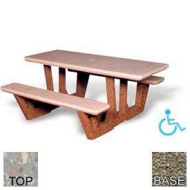 "68"" ADA Rectangular Picnic Table, Polished Gray Limestone Top, Gray Limestone Leg"