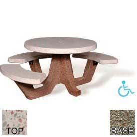 "42"" ADA Round Picnic Table, Polished White Top, Gray Limestone Leg"