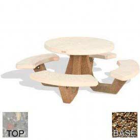"42"" Round Picnic Table, Polished Gray Limestone Top, Tan River Rock Leg"