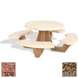 "42"" Round Picnic Table, Polished Red Quartzite Top, Tan River Rock Leg"