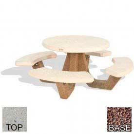 "42"" Round Picnic Table, Polished Tan River Rock Top, Red Quartzite Leg"