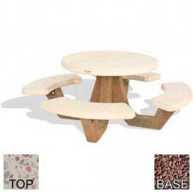 "42"" Round Picnic Table, Polished White Top, Red Quartzite Leg"