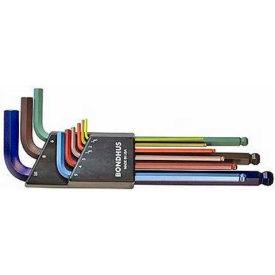 Bondhus 69499 ColorGuard™ Ball End L-Wrench Metric Set - Long Arm, 1.5mm-10mm, 9 Pieces