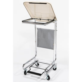 Blickman 2010 Step-On Chrome Hamper with White Poly-Coated Steel Lid