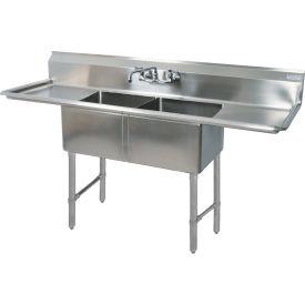 "BK Resources 2-Compartment Sink, 18""X18""X12"" Deep, 8"" Faucet Holes, 18"" Drainboards, Galvanized Legs"