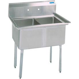 """BK Resources 2-Compartment Sink, 18""""X18""""X12"""" Deep Bowls, 8"""" Faucet Holes, Galvanized Legs"""