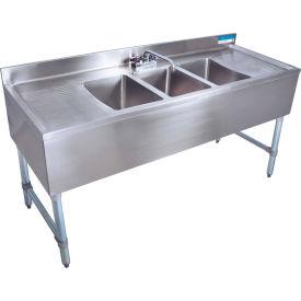 "BK Resources BKUBS-372TS,  S/S Underbar 3-Comp Sink-Dual Drainboard, 72""Lx21-1/4""Wx32-1/2""H"
