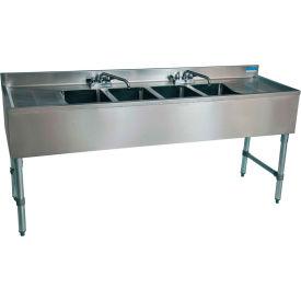 "BK Resources BKUBW-472TS,  S/S Underbar 4-Comp Sink-Dual Drainboard, 72""Lx18-1/4""Wx32-1/2""H"