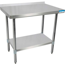 """BK Resources SVTR-2424, 24"""" W x 24"""" D T-430 18 ga. Stainless Steel Workbench with a 1.5"""" Backsplash"""