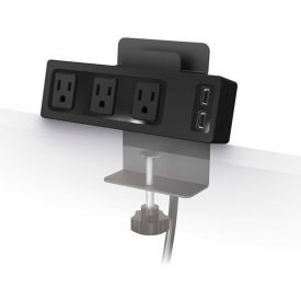 Balt® 66675 Desktop Clamp-on AC Power Outlet and 2.1A USB Charging Hub with Tablet Stand
