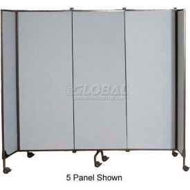 "Great Divide Portable Room Divider Assembled - 7 Panel, 6'H, Gray - 18' 6"""