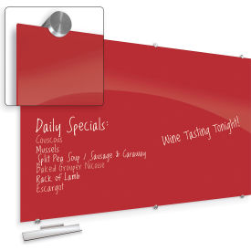 """Balt® Visionary Hierarchy Glass Magnetic Board - Red - 35-3/7""""H X 47-1/4""""W"""