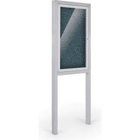 "Balt® All-Weather Herald Outdoor Enclosed Cabinet W/Posts - Single Door - 36""W x 48""H Blue"