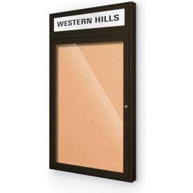 """Balt® Outdoor Headline Bulletin Board Cabinet,1-Door 24""""W x 42""""H, Coffee Trim, Nat. Cork"""