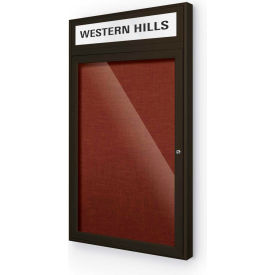 "Balt® Outdoor Headline Bulletin Board Cabinet,1-Door 24""W x 42""H, Coffee Trim, Burgundy"