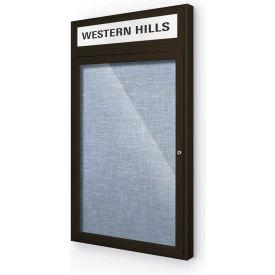 "Balt® Outdoor Headline Bulletin Board Cabinet,1-Door 24""W x 42""H, Coffee Trim, Pac. Blue"