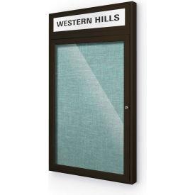 """Balt® Outdoor Headline Bulletin Board Cabinet,1-Door 24""""W x 42""""H, Coffee Trim, Teal Green"""