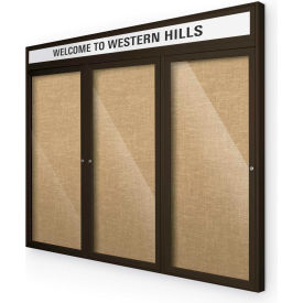 "Balt® Outdoor Headline Bulletin Board Cabinet,3-Door 72""W x 48""H, Coffee Trim, Natural"