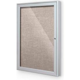 "Balt® Indoor Enclosed Bulletin Board Cabinet,1-Door 36""W x 36""H, Silver Trim, Gray"
