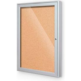 "Balt® Outdoor Enclosed Bulletin Board Cabinet,1-Door 18""W x 24""H, Silver Trim, Nat. Cork"