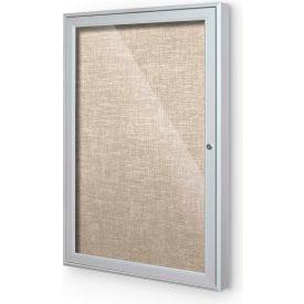 "Balt® Outdoor Enclosed Bulletin Board Cabinet,1-Door 18""W x 24""H, Silver Trim, Cotton"