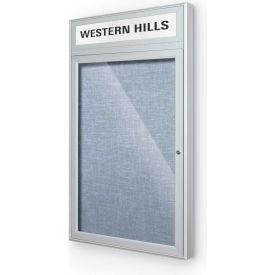 "Balt® Outdoor Headline Bulletin Board Cabinet,1-Door 24""W x 42""H, Silver Trim, Pac. Blue"