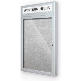"Balt® Outdoor Headline Bulletin Board Cabinet,1-Door 24""W x 42""H, Silver Trim, Platinum"
