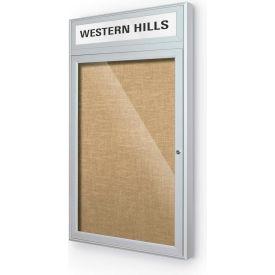 "Balt® Outdoor Headline Bulletin Board Cabinet,1-Door 24""W x 42""H, Silver Trim, Natural"