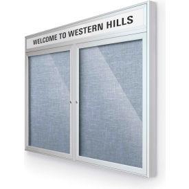 "Balt® Outdoor Headline Bulletin Board Cabinet,2-Door 48""W x 36""H, Silver Trim, Pac. Blue"