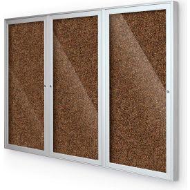 "BaltĒ Enclosed Bulletin Board - 3 Door - Tan Rubber - Silver Aluminum Frame - 72""W x 48""H"