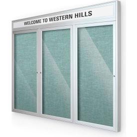 "Balt® Outdoor Headline Bulletin Board Cabinet,3-Door 96""W x 48""H, Silver Trim, Teal Green"