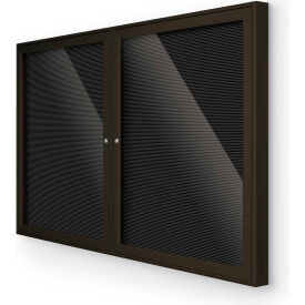 """Balt® Outdoor Enclosed Letter Board Cabinet with 2 Hinged Doors 60""""W x 36""""H Coffee"""