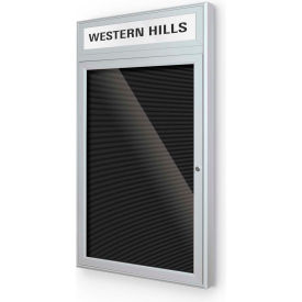 "Balt® Outdoor Headline Letter Board Cabinet with 1 Hinged Door 18""W x 30""H Silver"
