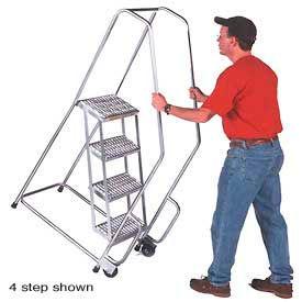 "3 Step 24""W Aluminum Tilt and Roll Ladder - Ribbed Tread"