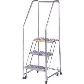 "Serrated 3 Step 18""W Aluminum Rolling Ladder 10""D Top Step, Spring Loaded - A3SHG"
