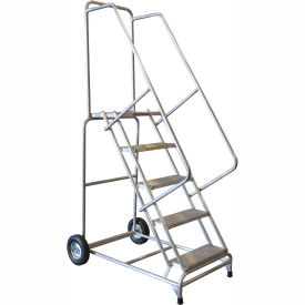 "7 Step 18""W Aluminum Wheelbarrow Ladder - Heavy Duty Serrated Grating"