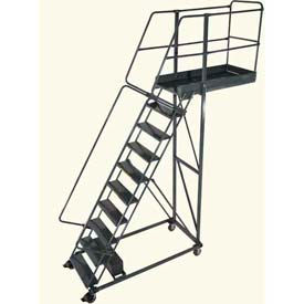 "Ballymore 10 Step Steel Cantilever Ladder -28"" Overhang, Perforated Tread"