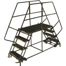 "3 Step Heavy Duty Steel Double Entry Work Platform 36""W Steps - DEP3-3636"