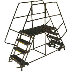 "4 Step Heavy Duty Steel Double Entry Work Platform 24""W Steps - DEP4-2448"