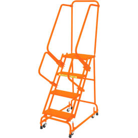 "Perforated 16""W 4 Step Steel Rolling Ladder 21""D Top Step W/ Handrails - Orange - FSH41821P-O"