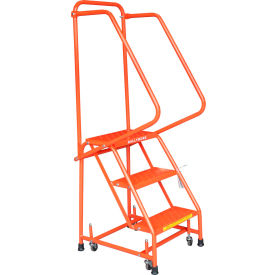"""Perforated 16""""W 3 Step Steel Rolling Ladder 10""""D Top Step W/ Handrails - Orange - H318P-O"""