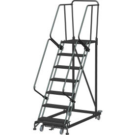 7 Step Extra Heavy Duty Steel Rolling Safety Ladder - Expanded Metal Tread