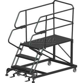 "3 Step Heavy Duty Steel Mobile Work Platform W/ Handrails - 24"" x 36"" Platform"
