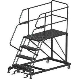 "4 Step Heavy Duty Steel Mobile Work Platform W/ Handrails - 24"" x 36"" Platform"