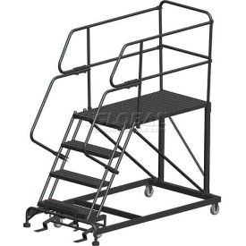 "4 Step Heavy Duty Steel Mobile Work Platform W/ Handrails - 36"" x 60"" Platform"