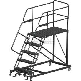 "5 Step Heavy Duty Steel Mobile Work Platform W/ Handrails - 24"" x 48"" Platform"