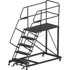 "5 Step Heavy Duty Steel Mobile Work Platform W/ Handrails - 36"" x 36"" Platform"